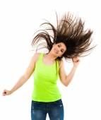 Woman flipping her hair — Stock Photo