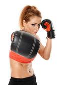 Kickbox fighter girl — Stock Photo