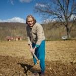 Senior woman sowing potatoes — Stock Photo #70660735