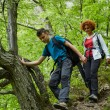 Family of hikers walking on a mountain trail — Stock Photo #72466373