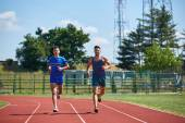 Two friends running — Stock Photo