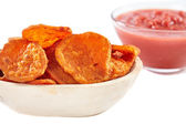 Homemade sweet potatoes chips — Stock Photo