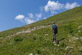 Teenager boy hiking — Stock Photo
