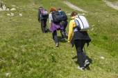 Hikers walking on a trail — Stock Photo