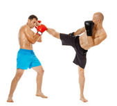 Two kickbox fighters sparring — Stock Photo