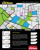 Website with city map illustration — ストックベクタ