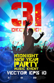 Big party and dancing people poster — Vector de stock