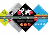 World globe timeline infographic — Vector de stock