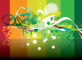 Athlete's silhouette on colorful background — Vector de stock