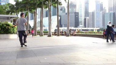 People on Marina Bay waterfront — Stock Video