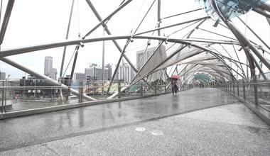 People on Helix Bridge — Stock Video