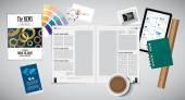 Open magazine and desk accessories — Stock Vector