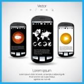 Téléphone mobile et l'icône de l'application coloré — Vecteur