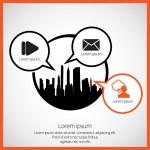 City skyline and communication speech bubbles — Stock Vector #73280211
