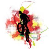 Background design with bmx biker silhouette — Stock Photo