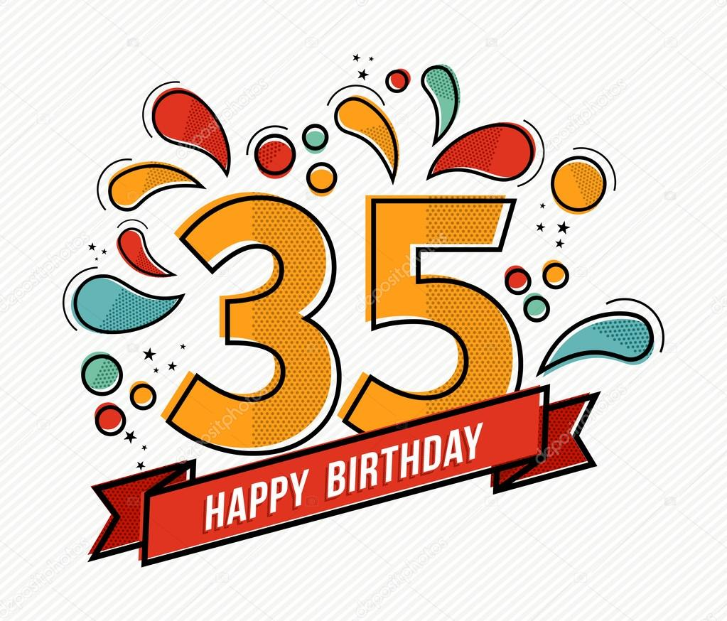 Colorful Happy Birthday Number 35 Flat Line Design Stock