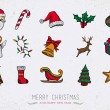 Colorful Vintage Christmas icons set — Stock Vector #55021677