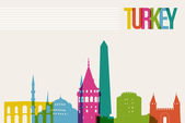 Travel Turkey destination landmarks skyline background — Vector de stock