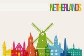 Travel Netherlands destination landmarks skyline background — Stock Vector