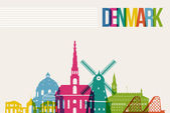 Travel Denmark destination landmarks skyline background — Stock Vector
