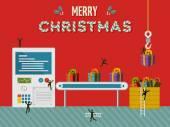 Christmas gift creative factory illustration card — Stock vektor