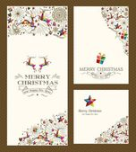 Merry Christmas greeting card set — Stock Vector