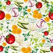 Vegetarian food pattern background — Stock Vector