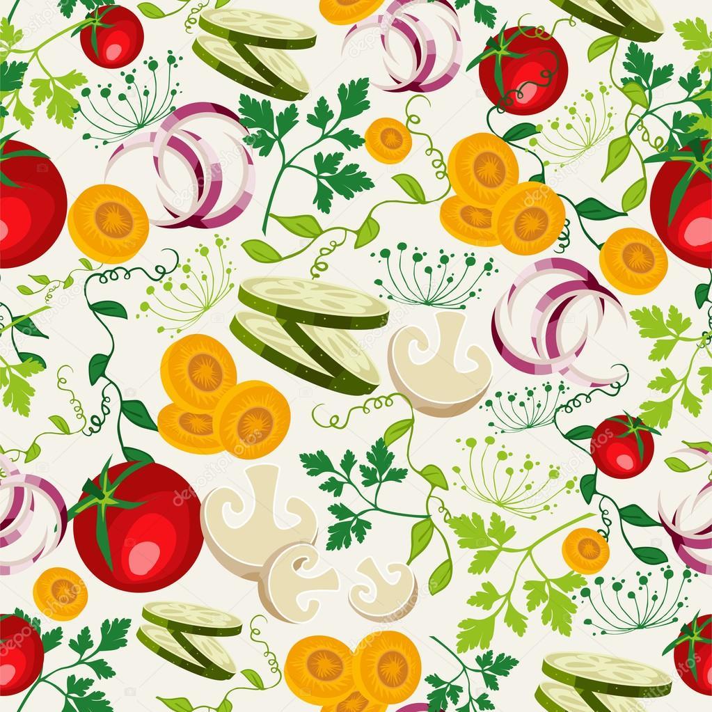 vegetarian food pattern background � stock vector