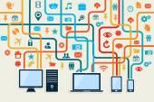 Social media devices connection concept — Stock Vector