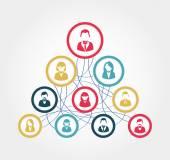 Social network diagram illustration — Cтоковый вектор