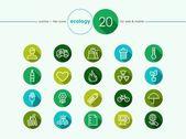 Green environment flat icons set — Stock Vector