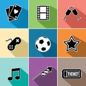 Entertainment icons set flat design — Stock Vector