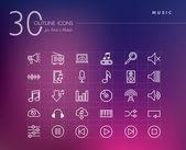 Musik disposition ikoner set — Stockvektor