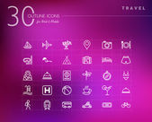 Travel outline icons set — Stock Vector