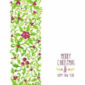 Merry Christmas watercolor holly berry pattern — Stock Vector