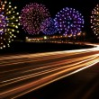 Happy New Year fireworks city cars highway — Stock Photo #59630381