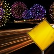 Happy New Year fireworks city cars highway — Stock Photo #59630399