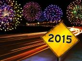 Happy New Year 2015 fireworks city cars highway — Stockfoto