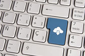 Technology concept, cloud download keyboard key. — Stock Photo