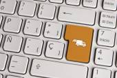Delivery concept, shipping truck keyboard key. — Fotografia Stock