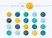 Web outline style flat icons set — Stock Vector