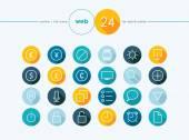 Money exchange outline flat icons set — Stock Vector