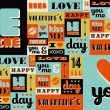 Постер, плакат: Happy Valentines Day retro vintage pattern