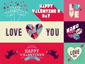 Happy Valentines Day web banner set — Stock Vector