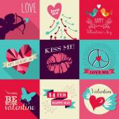 Happy Valentines Day greeting card set — Stock Vector