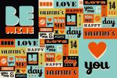 Happy Valentines Day retro vintage pattern — Vettoriale Stock