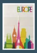 Travel Europe landmarks skyline vintage poster — Stock Vector