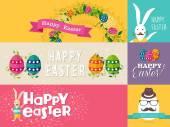 Happy Easter flat design banners set — Stock Vector