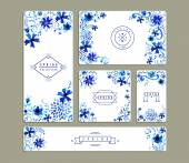 Vintage floral watercolor greeting card collections — Stockvektor