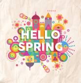 Hello spring quote poster design — Stock Vector